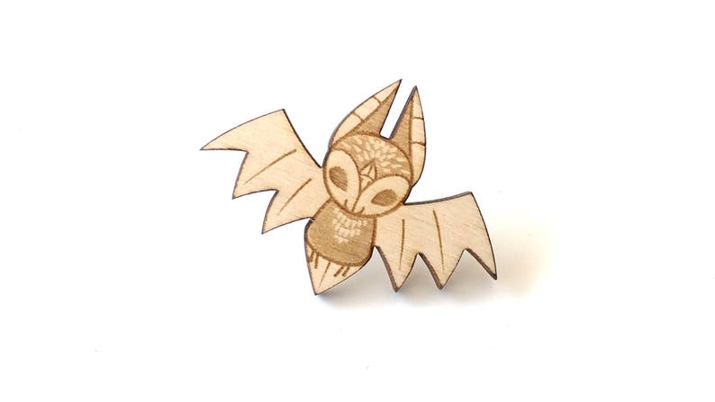 Bat Laser Etched Wood Pin image 0