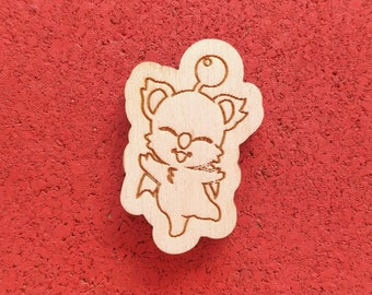 Moogle, Laser Etched Wood Pin