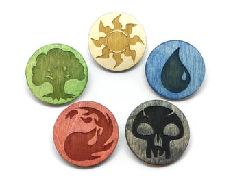 Magic the Gathering Mana Laser Etched Wood Pins