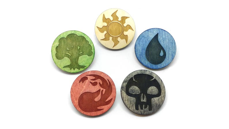Magic the Gathering Mana Laser Etched Wood Pins image 0