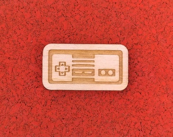 Nintendo Controller, Laser Etched Wood Pin