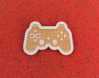 Playstation Controller, Laser Etched Wood Pin