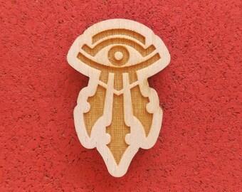 Sheikah Eye, Laser Etched Wood Pin