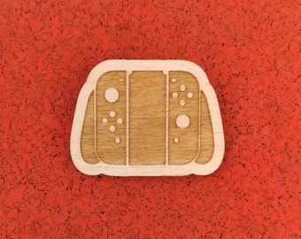 Nintendo Switch Controller, Laser Etched Wood Pin