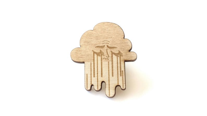 Sad Cloud Laser Etched Wood Pin image 0
