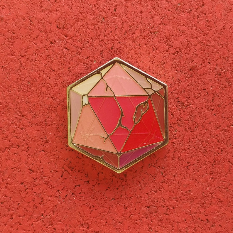 Red Crystal D20 Brass Enamel Pin image 1