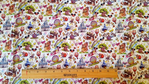 Fat Quarters Yards 12 Yards Haunted Mansion Ride Map Inspired 100/% Cotton Fabric