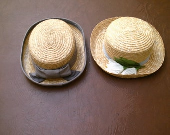 2-- Vintage Ladies Tan Straw Hat Hats  with Gray  Bow & Ribbon other Flowers