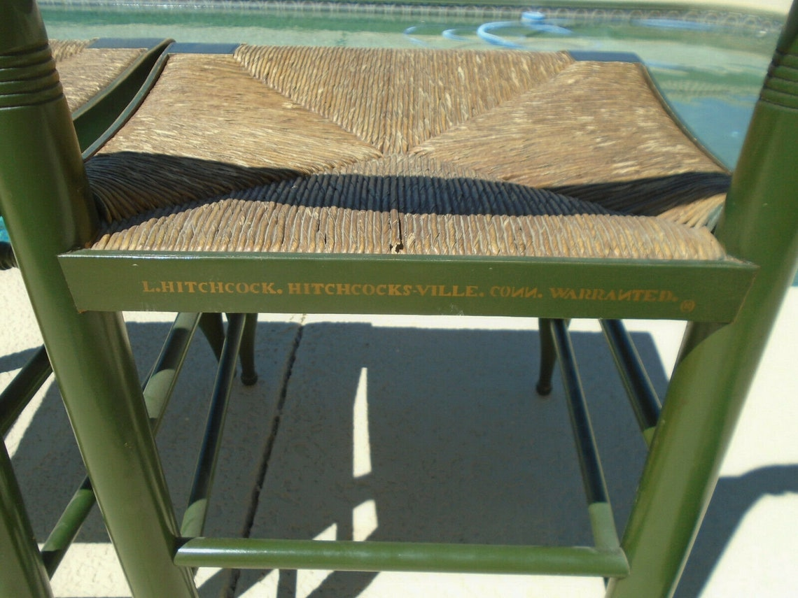 Hitchcoack Green Wood Stencil Chairs Fully Signed Rush Seats Set of 2 Vintage