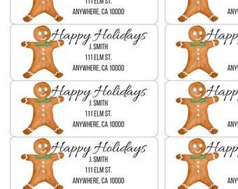 Gingerbread Address Labels-Gingerbread Return Labels-Christmas Return Labels-Holiday Return Labels-Christmas Address Labels-Holiday Address