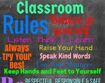 "Teacher Classroom Decor-8.5""x11"" Classroom Printable-Classroom Printables-Classroom Rules Printable-Classroom Decoration Printable"