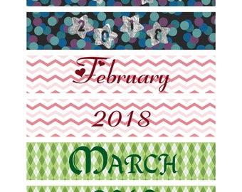 January - December Monthly Header Planner Stickers- Printable Monthly Headers for 2018-Monthly Printable Headers-Decorated Theme Headers