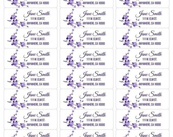 Purple Flower Personalized and Printable Address Labels-Flower Return Address Labels-Printable Address Labels-Printable Return Labels-Flower