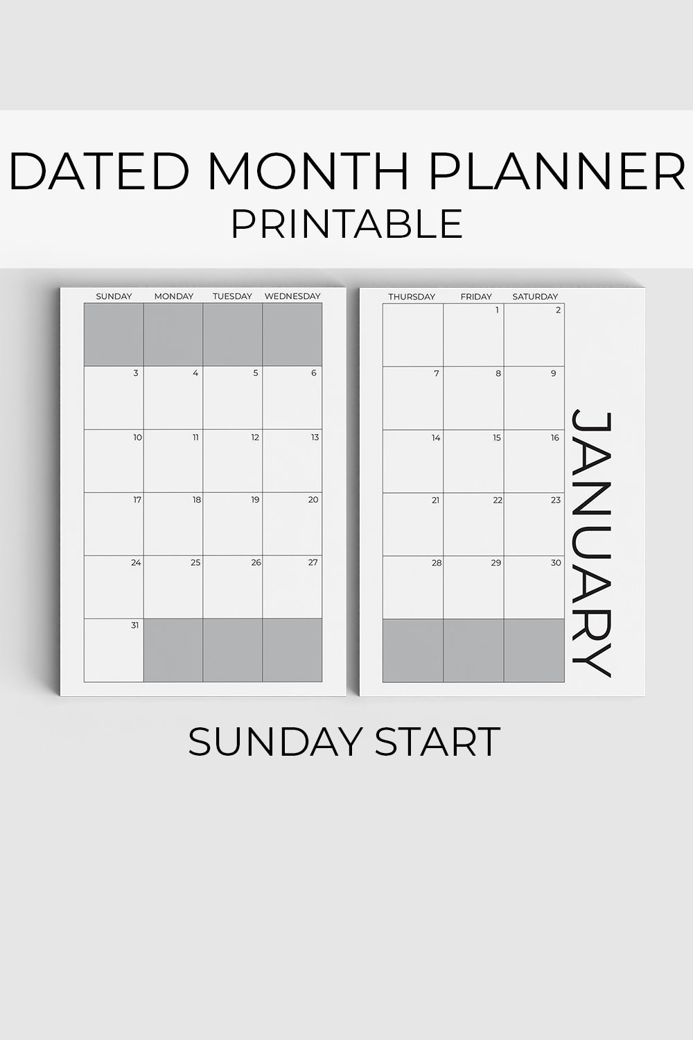 2021 Monthly planner printable, Sunday start, Dated ...