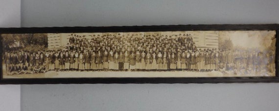 "Framed Antique 45.5"" Panoramic Black White Photograph Co-Ed School Class Yard Long Ephemera"