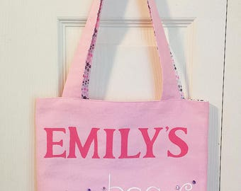Personalized Tote Bag Name bag Kids Tote Bag Gift for her Handpainted Bag