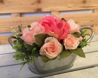 Etsy your place to buy and sell all things handmade pink floral arrangement pink floral centerpiece wedding flowers bridal shower flowers rose floral arrangement rustic flower arrangement mightylinksfo
