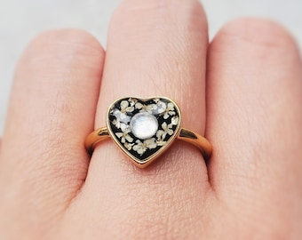 Floral heart moonstone ring, boho flower jewelry, gold botanical ring, dainty resin jewelry