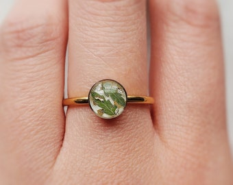 Handmade Pressed Fern Stainless Steel Ring Adjustable