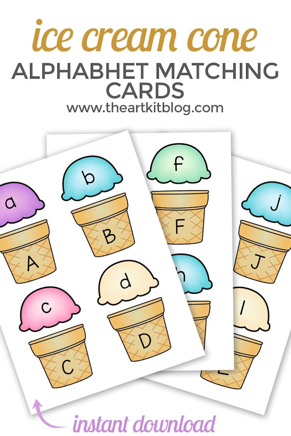 Ice Cream Cone Alphabet Letter Uppercase and Lowercase Match