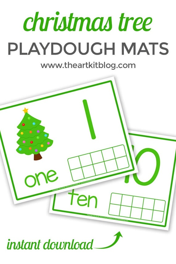 Christmas Tree Playdough Mats For Counting Number Practice Etsy