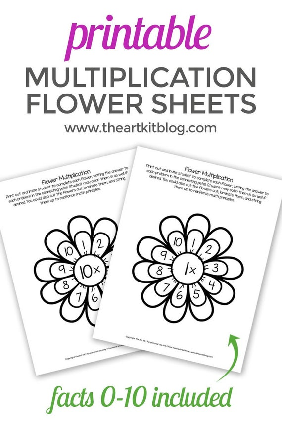 Multiplication Flowers Activity Sheets 0 to 10 - Waldorf - Montessori  Learning - Printable - Homeschooling - Math - Supplemental Worksheets