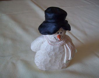Crazy Mountain Resin Snowman Figurine Wearing Black Hat. Vintage. Price Includes Shipping.