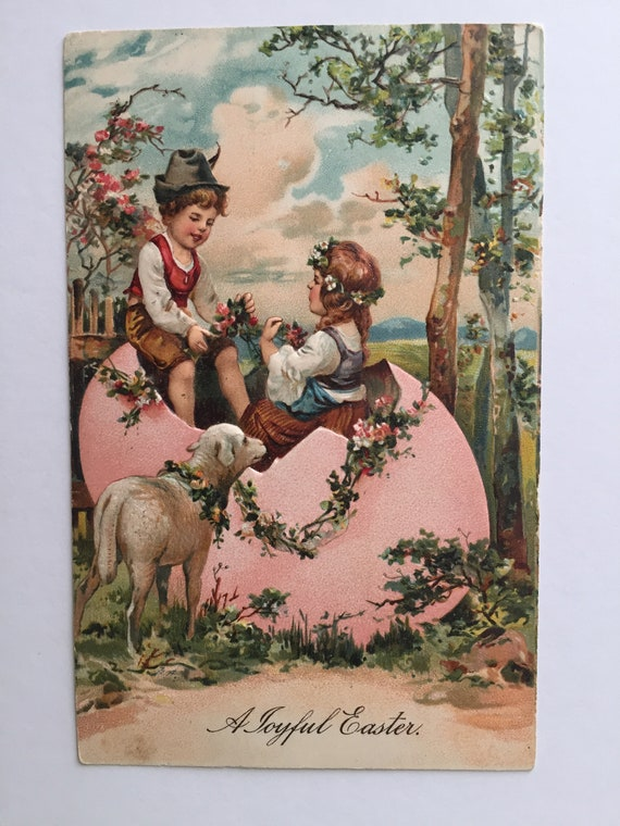 A Joyful Easter Toddler and Baby Chicks Postcard 1907 Antique Embossed