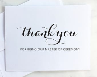 Thank you for being our master of ceremony - MC, master of ceremonies card - Wedding Keepsake Card