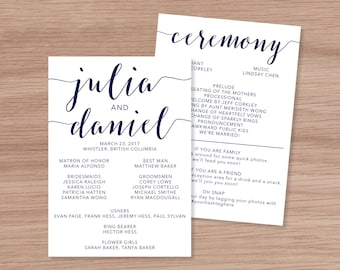 """Flat 5x7"""" Double sided Wedding Program - Customized Digital Download for Print at Home"""