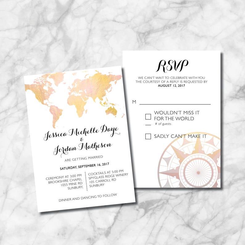 World Map Wedding Invitations.World Map Wedding Invitation Set Customize Download And Etsy