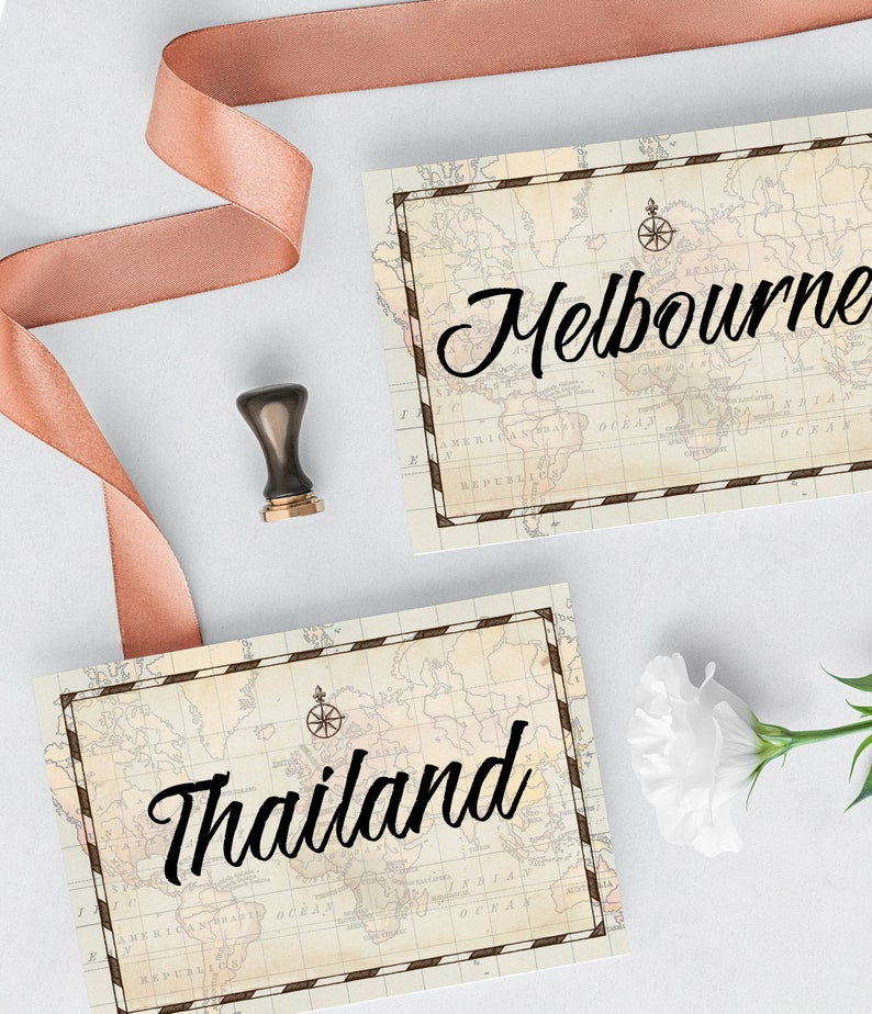 Travel Theme Vintage World Map Table Numbers - Table Names Template -  Cities, Countries - TEMPLATE