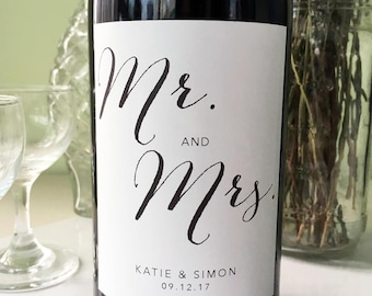 Personalized Mr and Mrs Wine Bottle Labels - Customize for your big day!