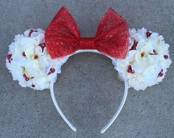 Winter White Floral Ears Double-Sided