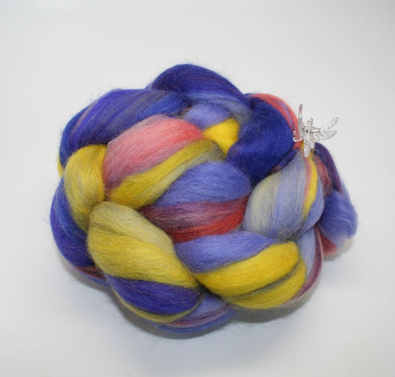 Baby ALPACAMerino Handpainted With Acid Dyes Handpainted SPINNING FIBERRoving BluePink Yellow 4 oz An Evening in Oz