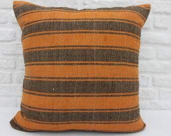 28 Handwoven Pillow Striped Pillow Handmade Pillow Throw Pillow Oriental Cushion Turkish Pillow 32x32 Orange Cushion Pillow Cover