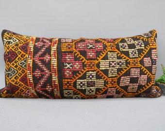 Pillow Cover,Orange Pillow 16x36 Bedding Pillow Throw Pillow 1272 Bohemian Kilim Pillow Embroidered Pillow,Lumbar Pillow,Designer Pillow