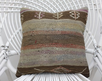 16x16 striped kilim pillow handmade pillow indoor pillow throw pillow boho kilim pillow 16x16 pillow cover embroidered kilim pillow  5358