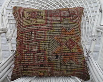 kilim pillow cover 20x20 geometric kilim pillow aztec pillow embroidered pillow cover vintage Turkish kilim rug pillow cover 50x50cm 2673