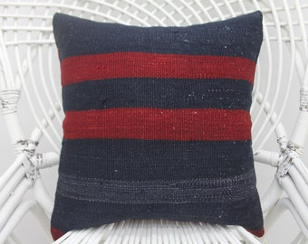 16x16 striped kilim pillow,throw pillows, both sided,wool pillow,16x16 pillow cover, red pillow,two sided,kilim pillows, turkish pillow,  54