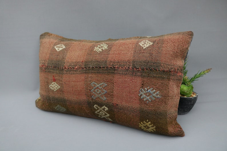 Natural Pillow Oriental Pillow 4983 Patterned Pillow Brown Pillow Throw Pillow Handmade Pillow Kilim Pillow 12x20 Cushion Case Decor