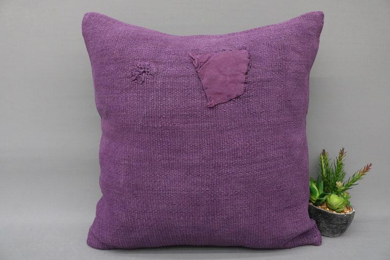 Kilim Pillow,20 x 20 Pillow Cover,Turkish Pillow,Bedding Pillow,Kilm Pillow,Kilim,Handmade Pillow,Purple Pillow,Hemp Pillow,Bohemian 5198
