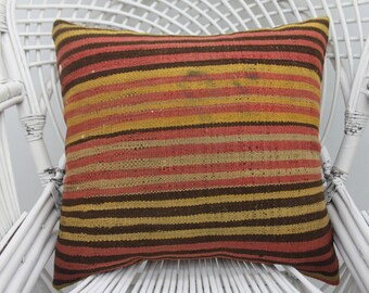 20x20 colorful pillow,wool pillow, throw pillow, organic pillow, both sided,throw pillows,striped pillow,20x20 pillow cover,both sides   36