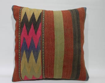"Throw Pillow Cover Kilim Pillow Cover 16"" x 16""Geometric Vintage Turkish Kilim Rug Decorative Pillow Cover Handmade Kilim Cushion Cover 2587"