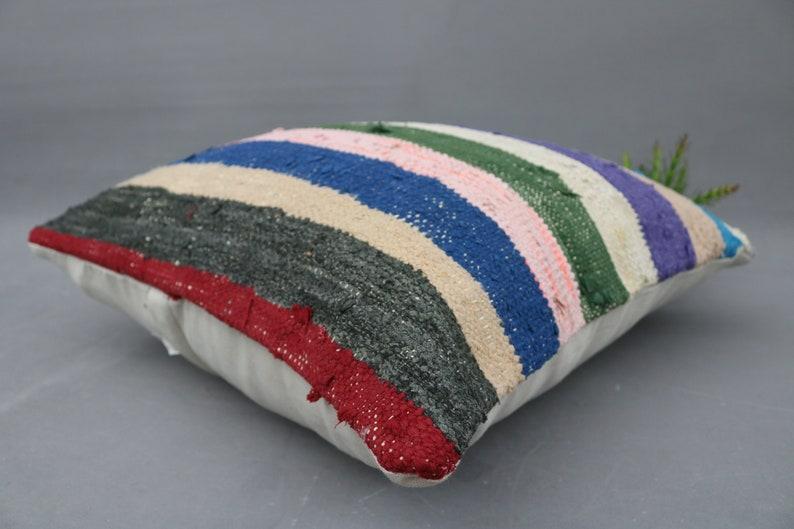 Antique Pillow Outdoor Pillow Case 20x20 Pillow Cover Kilim Pillow,Blue Pillow,Decorative Pillow Cover,Striped Pillow Kilim Ottoman 6074
