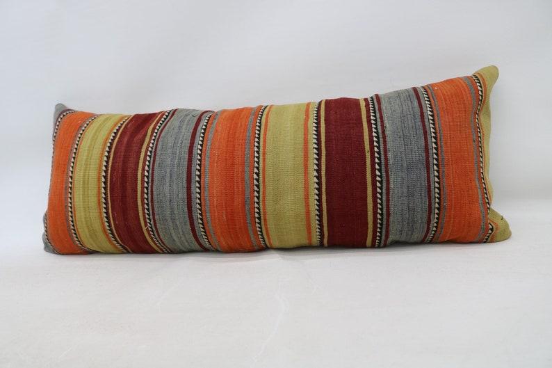 Bohemian Pillow Designer Throw Pillow Large Lumbar Pillow 37 16x42 Pillow Cover Turkish Kilim Pillow Striped Pillow Orange Pillow
