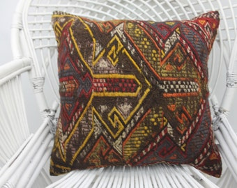 20x20 embroidered pillow, throw pillows, organic pillow, wool pillow,both sided, geometric pillow,20x20 pillow cover, kilim pillows 40