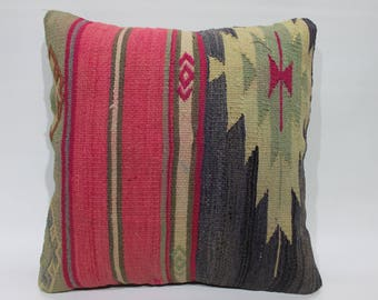 Handmade Kilim Pillow Covers RARE Turkish Kilim Pillow Covers Super Quality Decorative Pillow Cover 16 x16 Embroidery Rug Cushion Cover 2663