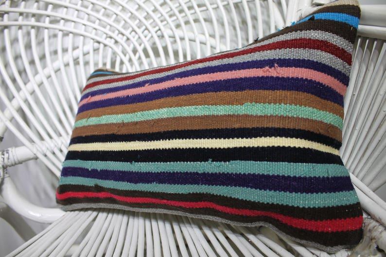 12x20 colorful striped rainbow organic kilim pillows case 30x50 cm turkish kilim rug throw pillows case big size kilim lumbar pillow 1527