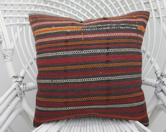 16x16 burgundy pillow, throw pillows,striped kilim pillow,both sided, cottage pillow, two sided, home decor pillow,16x16 pillow cover,  32